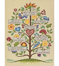 "Vintage Family Tree Counted Cross Stitch Kit-9""X12"" 14 CountVintage Family Tree Counted Cross Stitch Kit-9""X12"" 14 Count,"