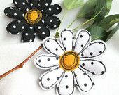 Brooch Camommiles Set 2in1 | Textile Art Felt Cotton Silk Brooch | Free Hand Machine Embroidered Brooch Pin | Black and White