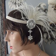 GREAT GATSBY inspired headpiece headband fascinator antique silver ox plated ivory feather roaring 20's wedding bridal bridesmaid flapper