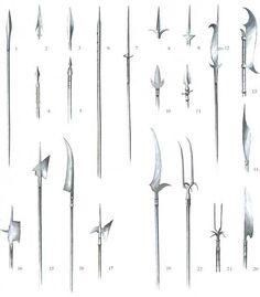 1 - Framea (V Sec.); 2 - Giavellotto normanno; 3 - Spiedo (XV Sec.); 4 - Spiedo dei mercenari; 5 - Picca; 6 - Lancia d'acciaio (1890); 7 - Ahlspiess o Quadrellone da breccia; 8 - Corsesca; 9 - Spiedo con arresti; 10 - Spuntone; 11 - Spuntone con arresti; 12 - Falcione; 13 - Roncola da guerra; 14 - Roncola da guerra; 15 - Alabarda svizzera (XV Sec.); 16 - Alabarda (XV Sec.); 17 - Alabarda (XVI Sec.); 18 - Falcione da guerra; 19 - Krakuse 20 - Guisarma; 21 - Forca con crocchi; 22 - Doppia…