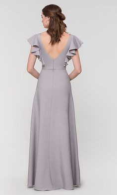 Shop long bridesmaid dresses with ruffled cap sleeves at Kleinfeld Bridal Party. Brushed satin formal dresses for bridesmaids and misses and plus-sized v-neck bridesmaid dresses with attached belts. Stylish Dress Designs, Stylish Dresses, Elegant Dresses, Sexy Dresses, Cute Dresses, Casual Dresses, Fashion Dresses, Dresses For Work, Prom Dresses