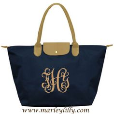 Monogrammed Dark Navy and Tan Champ Purse - Marley Lilly $30.00