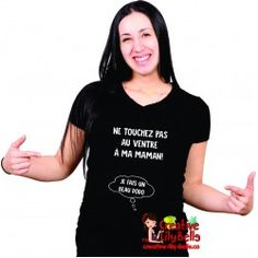 touchez pas au ventre texte cm284 Chemise Fashion, Peek A Boo, T Shirts For Women, Tops, Black Sweaters, Baby Style, Pregnant Wife, Pregnancy, Shell Tops