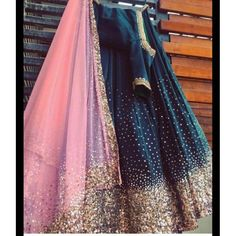 Dresses - Emerald green and coral Sprinkle set by Rianta's Official Indian Wedding Outfits, Bridal Outfits, Indian Outfits, Indian Designer Outfits, Designer Dresses, Designer Lehnga Choli, Indian Bridal Lehenga, Party Wear Lehenga, Lehenga Designs
