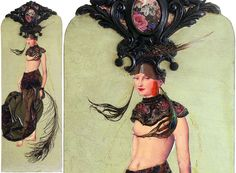 La Dame Orné uit de serie Demoiselles Coiffées. VERKOCHT, meer panelen zijn te koop via https://www.etsy.com/nl/shop/MargrietThissen of te bekijken op https://www.facebook.com/Atelier.Margriet.Thissen