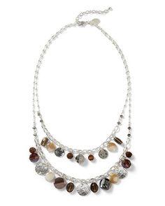 White House | Black Market Short Hammered Silvertone Neutral Necklace #whbm