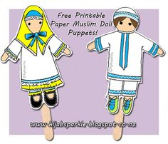 Use these free printable Muslim puppets in your Ramadan kids activities! Ramadan Mobarak, from Hijab Sparkle :)