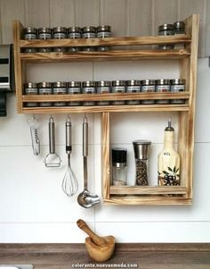 Spice shelf made of recycled old wood, upcycling Spice rack made of old wood with lots of space!: height width 59 cm, depth 10 cm in Kitchen Furniture, Kitchen Interior, Wood Furniture, Kitchen Decor, Kitchen Wood, Kitchen Ideas, Messy Kitchen, Family Kitchen, Furniture Stores