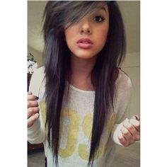 Cute Long Straight Emo Haircut With Side Swept Bangs Hair For ...