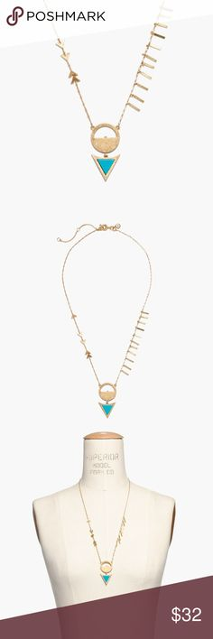 "Madewell Arrow Flip Necklace Our design team loves this double-faced arrow pendant necklace hung with geometric charms. Give it a spin to change it from semiprecious turquoise to howlite (full disclosure: twirling it gets addictive). Each stone is hand-selected by our designers, so no two are exactly alike.    Length: 22"" with a 3"" extender chain for adjustable length. Spring clasp closure. Brass, semiprecious howlite stone, turquoise stone.  EUC  ♥️ Ships same or next day Madewell Jewelry…"