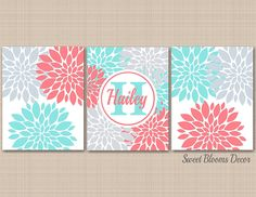 Coral Teal Aqua Gray Nursery Wall Art, Floral Nursery Wall Art,Coral Aqua Nursery Wall Art,Monogram Nursery,Turquoise Nursery Art-UNFRAMED Set of 3 PRINTS (NOT CANVAS)C 421 -- To view further for this item, visit the image link. (This is an affiliate link and I receive a commission for the sales)