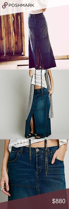 FREE PEOPLE Maxi Skirt Intricate Long Draped Swing Available Sizes: 24, 25. Brand New With Tags.  • Beautiful denim skirt featuring breathable pieced cotton fabric & dainty slit at front. • Toned contrast detailing throughout with distressed patchwork accents. • Exposed stitching with raw unfinished seams. • 5-pocket design with 4-button overlay at fly. • Belt loops & adjustable back cinch. • 148 msrp + tax. • 24 = 00 = XXS. • 25 = 0 = XS  # Fall Boho  { Southern Girl Fashion } •…
