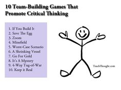 10 team building games that promote critical thinking from Teach Thought. 10 team building games that promote critical thinking from Classroom Games, Classroom Management, Beginning Of School, First Day Of School, Building Games For Kids, What Is Team Building, Building Ideas, Community Building Games, Team Building Activities For Adults