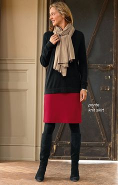 red skirt mixed with camel and black pieces