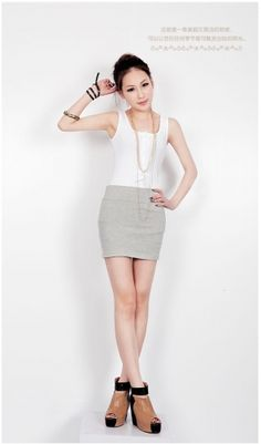 Candy Color Elastic A-line Short Skirt on Buytrends.com, only price $8.13