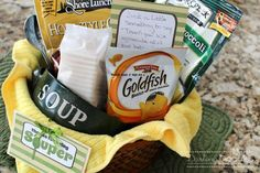 "Souper Gift Basket - Darling Doodles ""Thanks for Being Souper"" Gift Basket -or- could be ""Get Well Soon"" gift Basket Food Gifts, Craft Gifts, Diy Gifts, Teacher Appreciation Gifts, Teacher Gifts, Volunteer Appreciation, Simple Gifts, Unique Gifts, Cute Gifts"