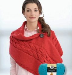 Sweater wrap w button in cable knit.  Not a fan of the color but with Loops & Threads Charisma, should knit up beautifully.