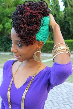 Dreads wrapped in a scarf Dreads Styles, Dreadlock Styles, Dreadlock Hairstyles, African Hairstyles, Ponytail Hairstyles, Celebrity Hairstyles, Men Ponytail, Updos, Sporty Ponytail