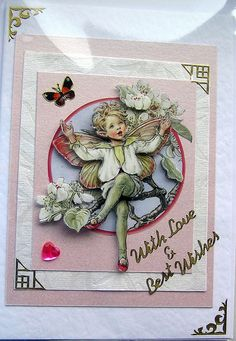 Pear Blossom Fairy HandCrafted 3D Decoupage Card  by SunnyCrystals, $3.55