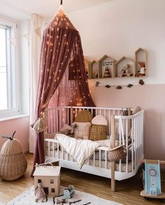 What a magical nursery room by 👈🏻 We've added a selection of linen canopies to our Winter Sale 💕 . Nursery Wall Decor, Baby Room Decor, Nursery Room, Childrens Room Decor, Kids Decor, Baby Bedroom, Kids Bedroom, Bedroom Ideas, Kids Room Design