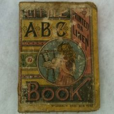 C1884 Little ABC Book Linen Cloth Illustrated McLoughlin Antique Vintage RARE #1