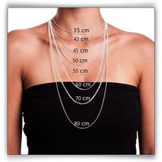 Choosing the Right Necklace Length - Necklace Lengths - Necklace Size Chart - jewels - Halskette Necklace Size Charts, Necklace Length Chart, Necklace Sizes, Necklace Lengths, Chain Length Chart, Diy Necklace Chain, Chain Bracelets, Cute Jewelry, Jewelry Crafts