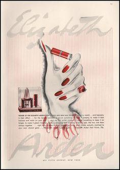 Paper Gallery Collectibles - Original 1941 Elizabeth Arden Lipstick And Nail Polish Vintage Vintage Advertisement, $14.50 (http://www.papergalleryprints.mybigcommerce.com/1941-elizabeth-arden-lipstick-and-nail-polish-advertisement/)