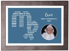 This custom made print make the perfect gift for a couple or family welcoming a new baby.