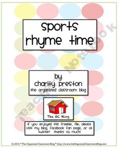 TheOCBlog Shop - sports-rhyme-time | Teachers Notebook