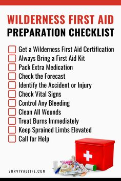 Preparing to explore the wilderness soon? Before you head out on your new adventure, you need to be prepared. Here is a wilderness preparation checklist. #wildernessfirstaid #firstaid #survivalskills #survival #preparedness #survivallife Wilderness First Aid, Wilderness Survival, Survival Life, Survival Skills, First Aid Tips, Medical Examination, Vital Signs, Injury Prevention