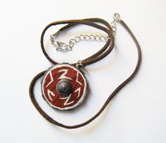 How To Train Your Dragon -Hiccup Shield- chocolate brown suede cord necklace on Etsy, $15.00