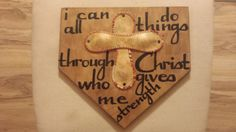 "Wooden Home Plate With Baseball Cross And Bible Verse. Stained 1/2"" Thick Birch…"