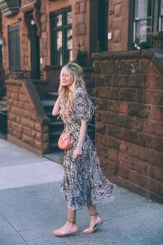 summer style printed midi dress , ./ the barefoot blonde