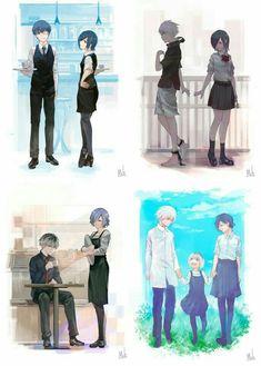 Kaneki Ken y Kirishima Touka Manga Tokyo Ghoul, Ken Kaneki Tokyo Ghoul, Touka Kaneki, Manga Anime, Tamako Love Story, Tokyo Ghoul Wallpapers, Happy End, Familia Anime, Anime Lindo