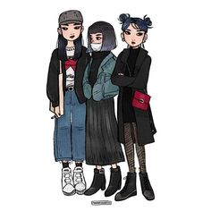 City girls are so cool I wanna join their gang  ••• #illustration #art #drawing #fashion #girls