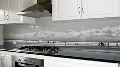 Printed image on glass kitchen splashback / backsplash by Lucy G. 'Summer Fun' http://www.lucygsplashbacks.co.nzLucy works with customers all over the world.