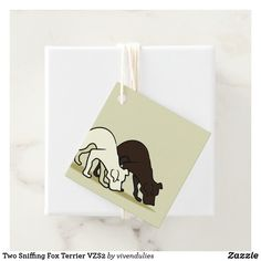Two Sniffing Fox Terrier VZS2 Favor Tags  #dogs #favor #tags #fox #terrier