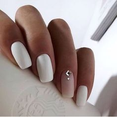 Exact nails, cute fashion nails, delicate wedding nails, long nails, nails for . # for # wedding nails # fashion nails. Nail Polish, Nail Manicure, White Manicure, Matte White Nails, White Nail Art, Long White Nails, Nail Pink, Orange Nail, White Polish