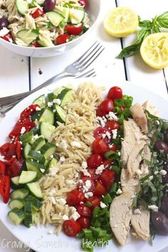 Greek Chicken and Orzo Salad|Craving Something Healthy