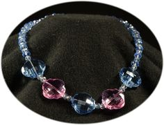 blue crystal necklace with pink accents