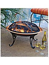 Folding Copper Firepit, legs, grill store inside bowl so it's portable. From Solutions, for wandering away from the patio.
