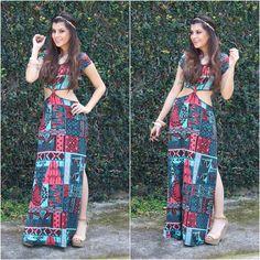 vestido longo com fenda estampado - Pesquisa Google