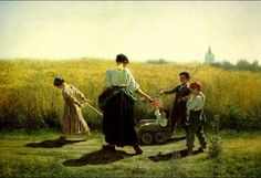 """Jules Breton: """"The Departure for the Fields"""", date unknown,   oil on canvas, Private collection, The Athenaeum -"""