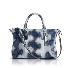GONZALES - Python - Blue - Python bag with removable round handles and shoulder strap.
