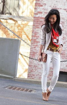 white jeans.