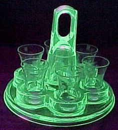Green Vaseline Glass Shot Glass