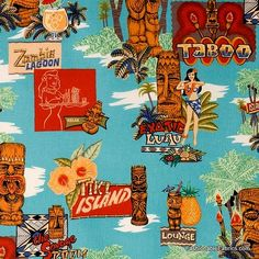 Fabric... Tiki Island in turquoise by Alexander Henry Fabrics