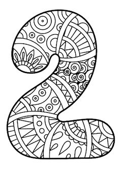 Number Two Coloring Sheet Lovely Pattern Number 2 Coloring Pages for Kids Counting Numbers Coloring Book Pages, Printable Coloring Pages, Coloring Pages For Kids, Coloring Sheets, Adult Coloring, Kids Coloring, Colouring, Zentangle, Veterans Day Coloring Page
