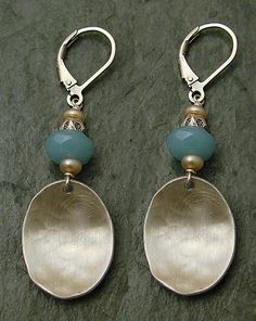 J + I Silver Ovals with Small Blue Circle Gems Earring