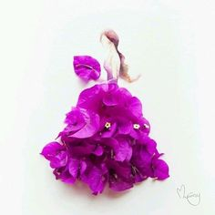 Fashion illustration with real flowers petals